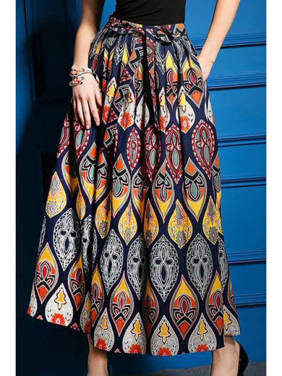 outfits Vintage Printed Lace Up Long Skirt - DEEP BLUE L