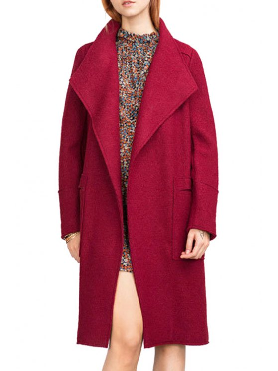 affordable Turn-Down Collar Pure Color Long Sleeves Woolen Coat - RED M