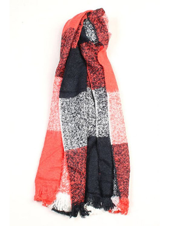 unique Fringed Checked Scarf - RED