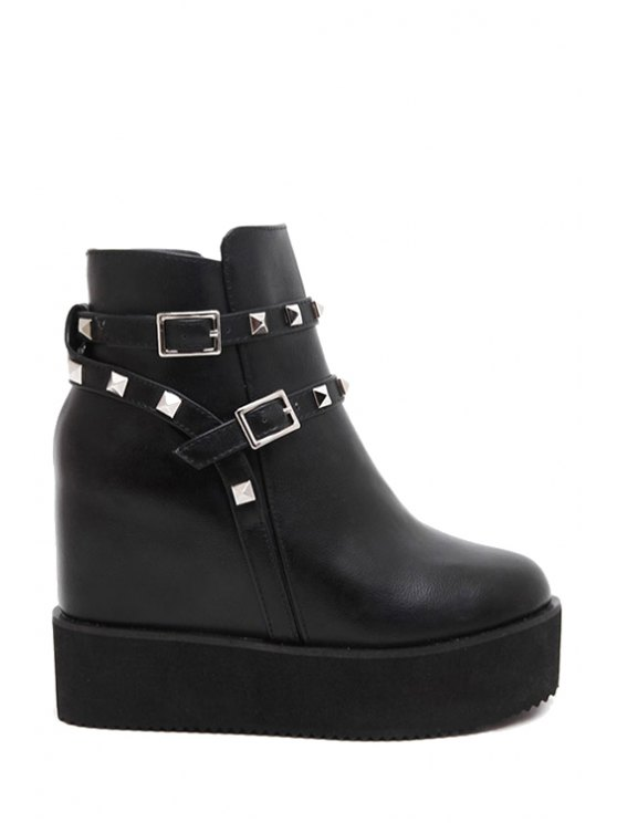 new Rivet Buckles Hidden Wedge Short Boots - BLACK 38