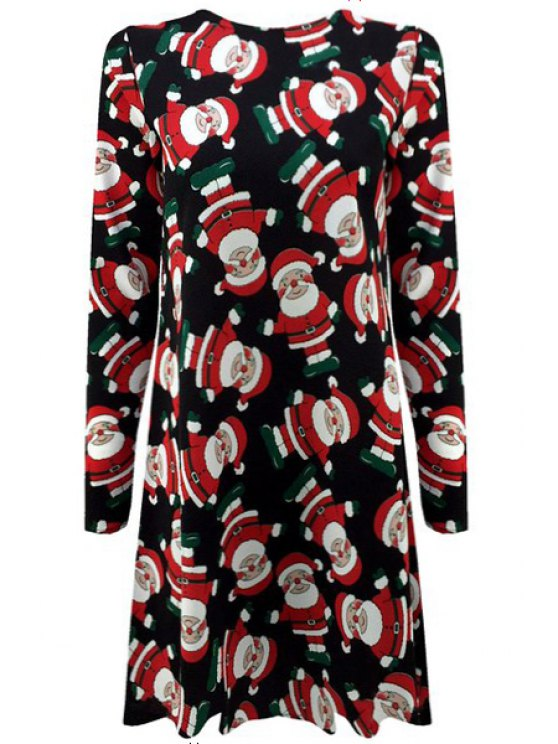 fashion Father Christmas Print Long Sleeve Dress - BLUE S