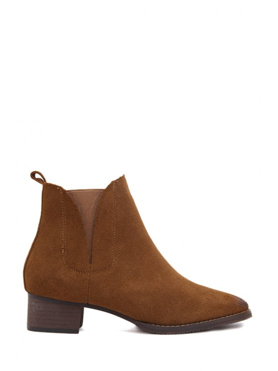 womens Suede Solid Color Low Heel Short Boots - BROWN 37