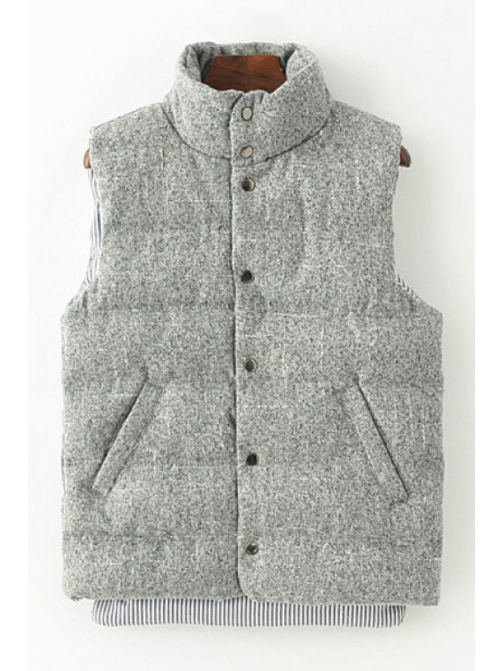 women's Thicken Solid Color Stand Collar Waistcoat - LIGHT GRAY ONE SIZE(FIT SIZE XS TO M)