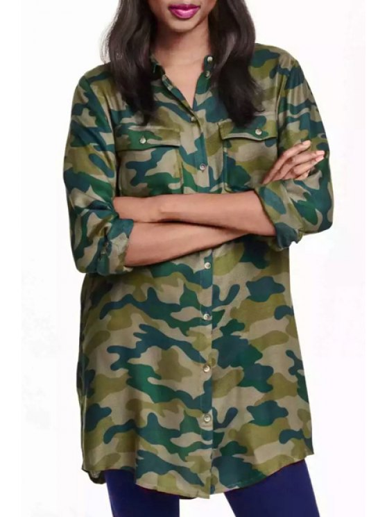 fashion Long Sleeve Single-Breasted Camo Shirt - GREEN S