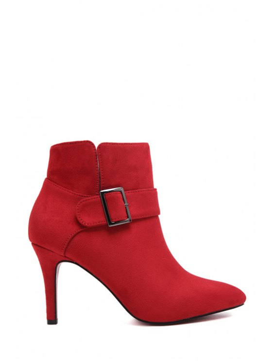 fancy Pointed Toe Buckle Suede Short Boots - RED 34