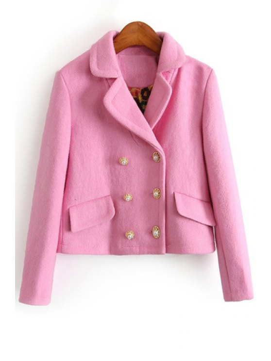 ladies Lapel Double-Breasted Pink Jacket - PINK S