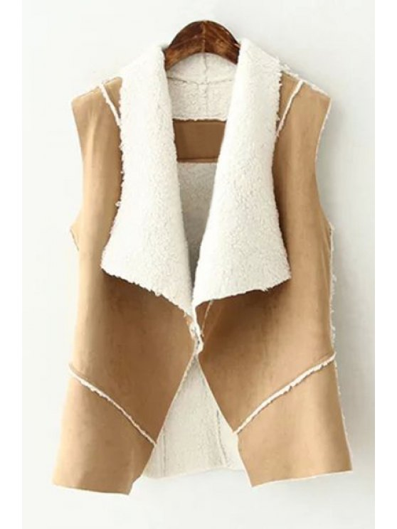 lady Solid Color Suede Turn-Down Collar Waistcoat - KHAKI M