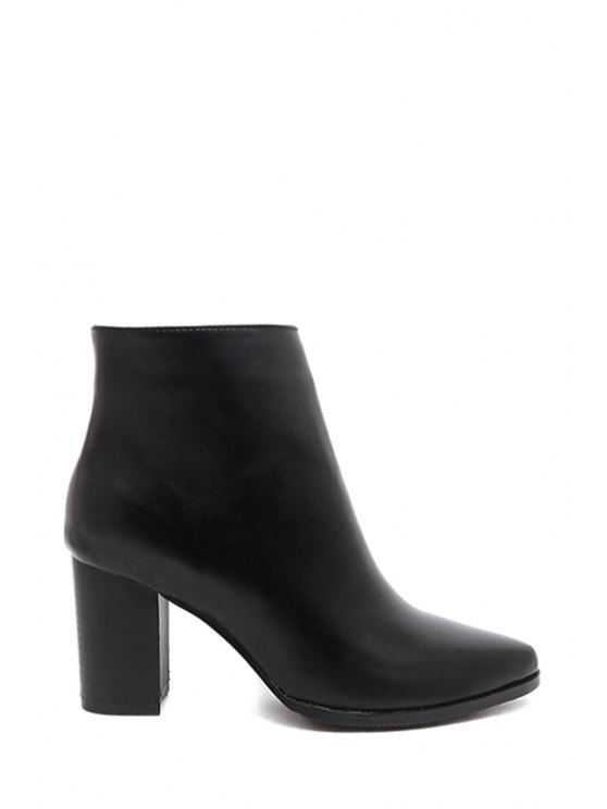 new Black Pointed Toe Chunky Heel Ankle Boots - BLACK 35