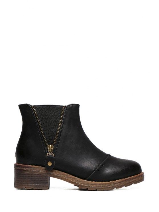sale Solid Color Elastic Zipper Short Boots - BLACK 35