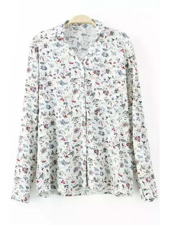 unique Tiny Flowers Print Long Sleeve Shirt - WHITE S