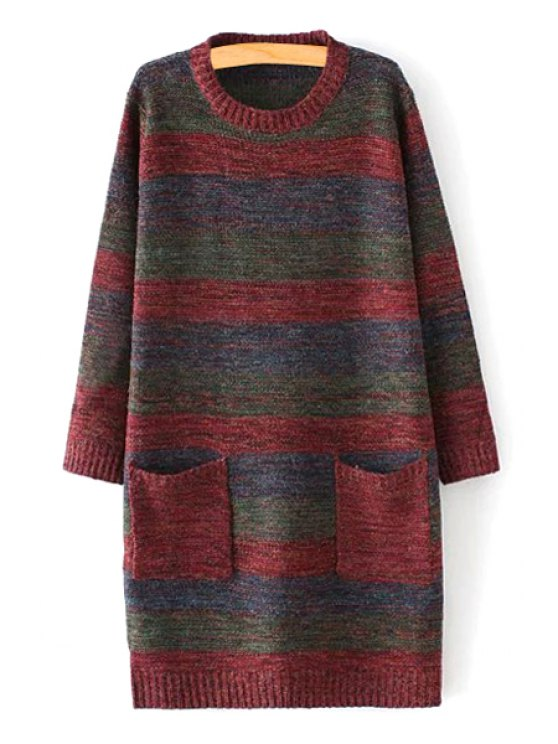 fancy Striped Pockets Round Collar Long Sleeves Sweater - COLORMIX ONE SIZE(FIT SIZE XS TO M)