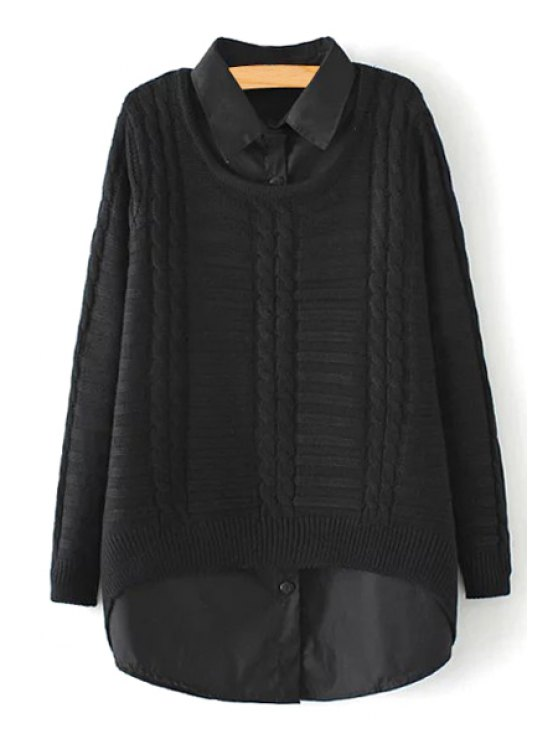 unique Solid Color Shirt and Long Sleeves Sweater Twinset - BLACK ONE SIZE(FIT SIZE XS TO M)