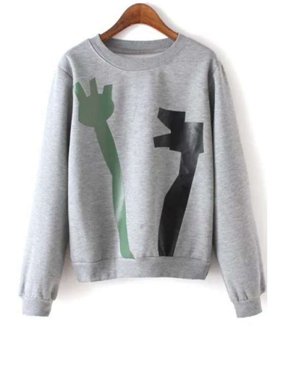 new Abstract Print Round Neck Long Sleeve Sweatshirt - GRAY S