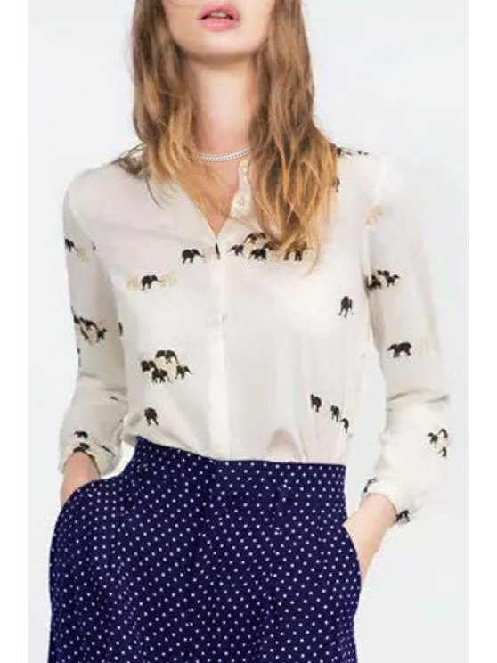 best Elephant Print Shirt Collar Long Sleeves Shirt - WHITE M