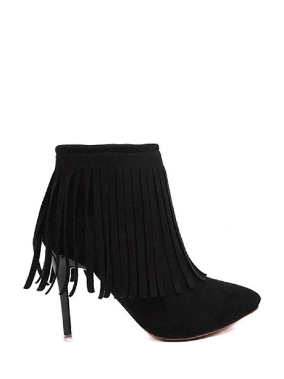 unique Suede Fringe Pointed Toe Short Boots - BLACK 35