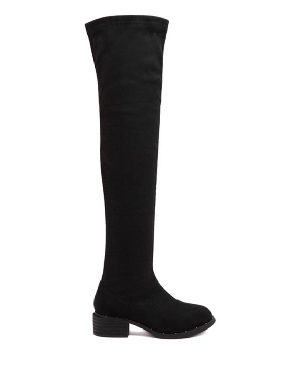 fashion Black Suede Chunky Heel Thigh Boots - BLACK 35