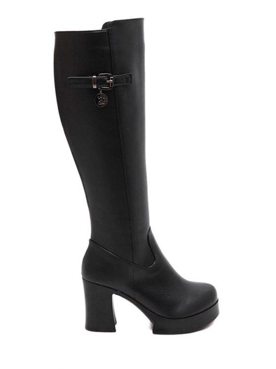 trendy Buckle Platform Chunky Heel Mid-Calf Boots - BLACK 35