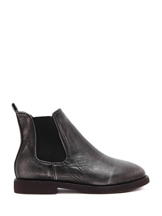 affordable Solid Color Elastic Flat Heel Short Boots - SILVER 35