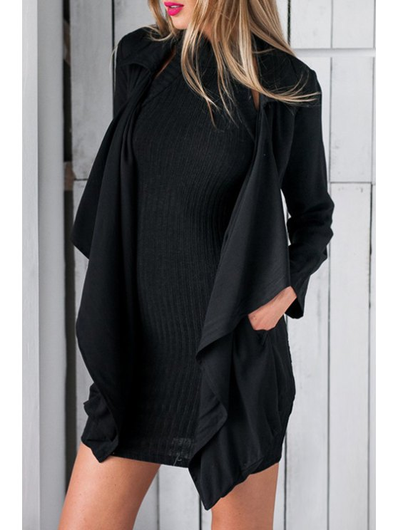 fancy Pocket Design Black Trench Coat - BLACK S