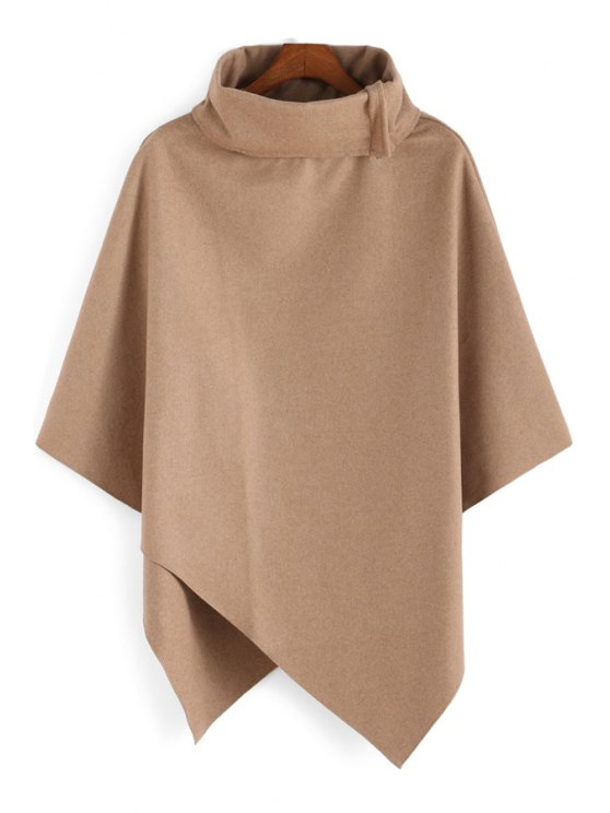 fashion Solid Color Irregular Hem Stand Collar Cape Coat - KHAKI ONE SIZE(FIT SIZE XS TO M)