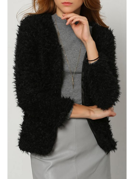 chic Solid Color Faux Fur Long Sleeves Thicken Coat - BLACK S