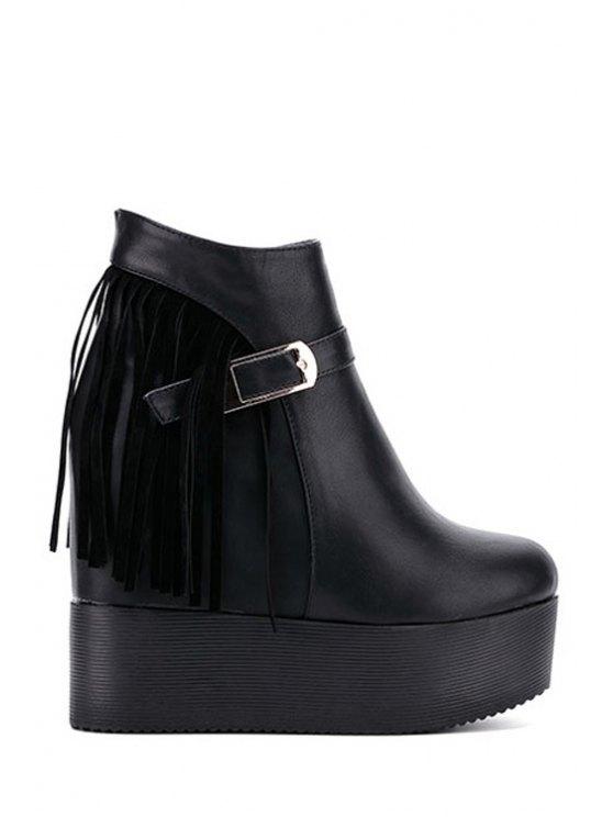 ladies Fringe Platform Hidden Wedge Short Boots - BLACK 34