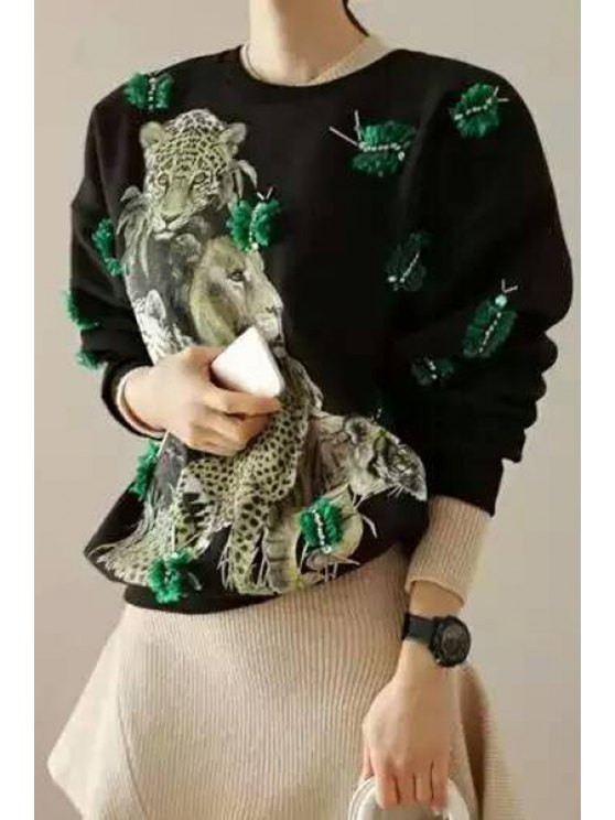 online Leopard Print Round Neck Long Sleeve Sweatshirt - BLACK ONE SIZE(FIT SIZE XS TO M)