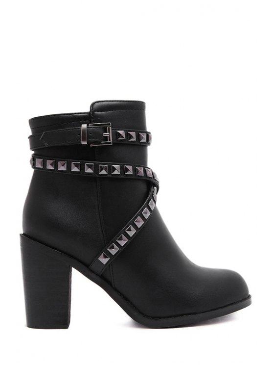 best Criss-Cross Rivet Chunky Heel Short Boots - BLACK 35