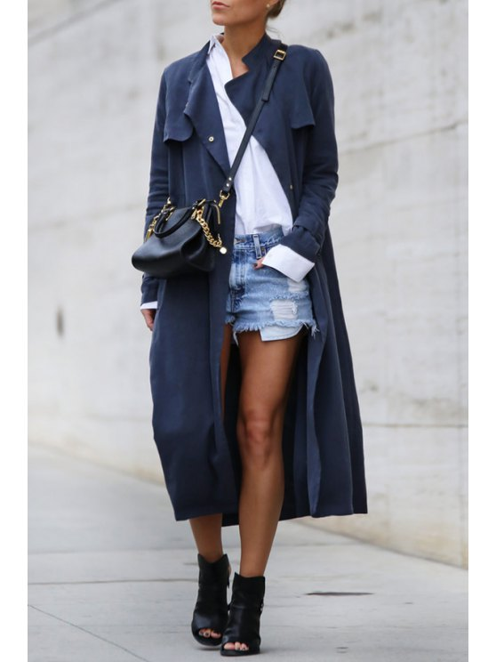 shop Solid Color Pockets Stand Collar Trench Coat - DEEP BLUE XS