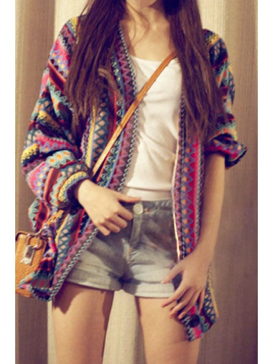 sale V-Neck Long Sleeve Colorful Cardigan - BLUE ONE SIZE(FIT SIZE XS TO M)
