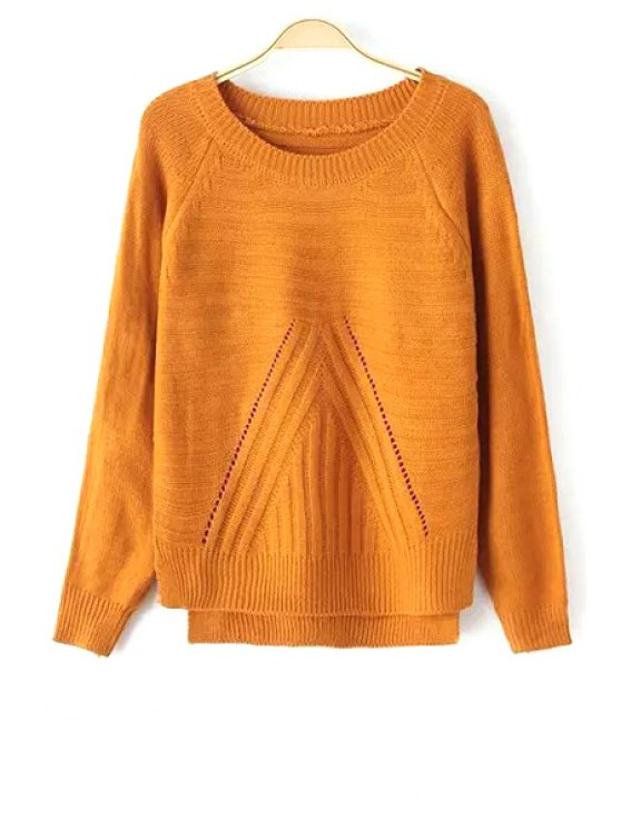 affordable Solid Color High-Low Hem Long Sleeves Sweater - YELLOW ONE SIZE(FIT SIZE XS TO M)