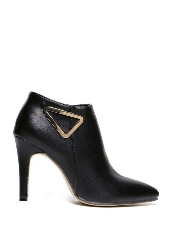 sale Metal Pointed Toe Stiletto Heel Ankle Boots - BLACK 35