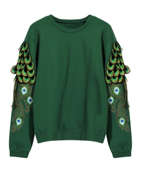 unique Peacock Embroidery Long Sleeve Sweatshirt - GREEN M