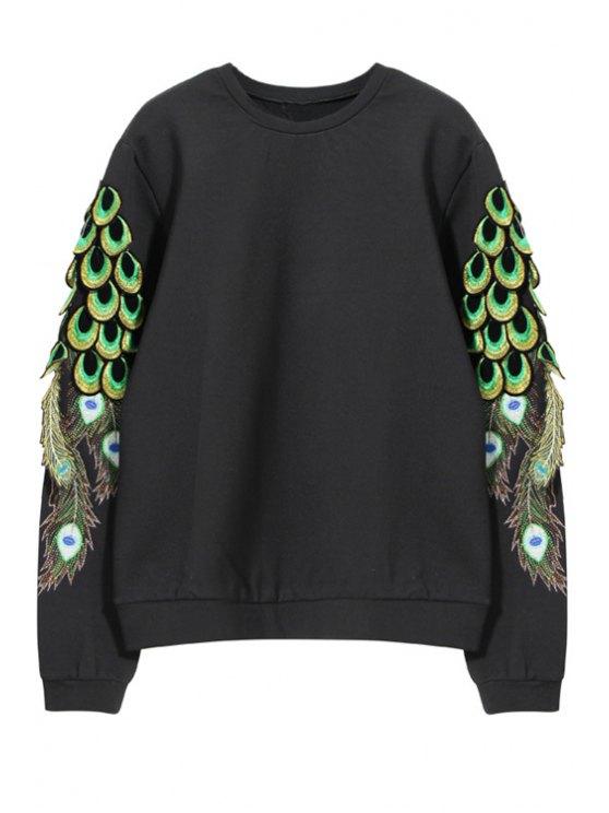 hot Peacock Embroidery Long Sleeve Sweatshirt - BLACK S
