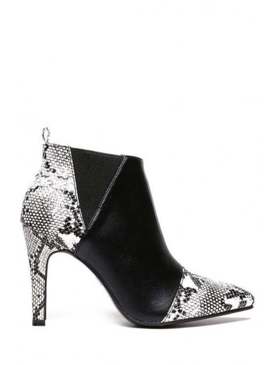new Pointed Toe Snake Print Elastic Ankle Boots - BLACK 37