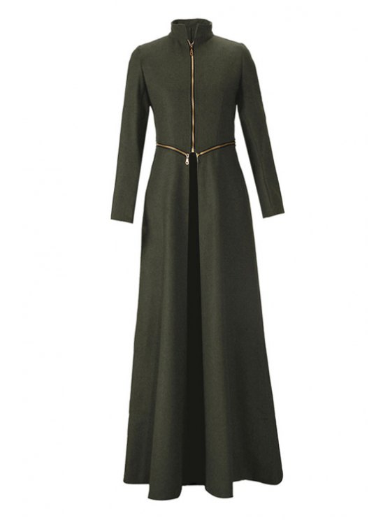 lady Stand Neck Zippered Extra Long Coat - ARMY GREEN S