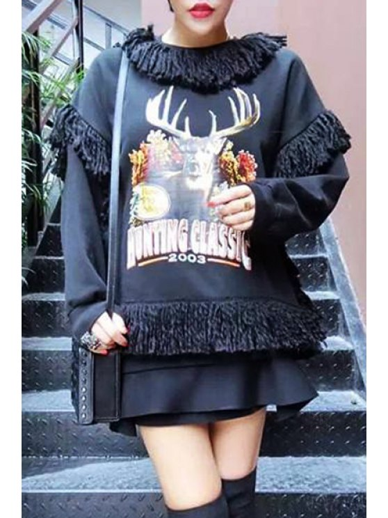 affordable Deer Print Round Neck Long Sleeves Sweatshirt - BLACK ONE SIZE(FIT SIZE XS TO M)