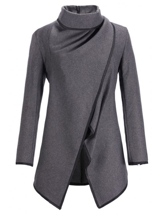 new Large Lapel Button Design Piped Trench Coat - GRAY M