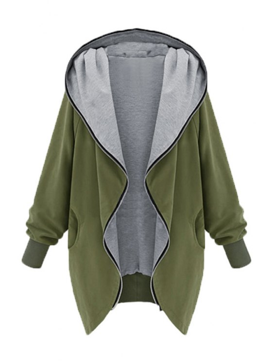 affordable Zip Up Loose Fit Hoodie - ARMY GREEN 2XL