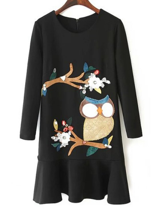 shops Embroidery Print Round Collar Long Sleeves Dress - BLACK S