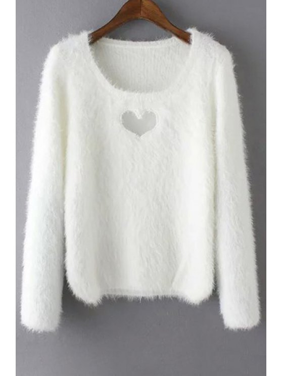 online Heart Hollow Out Long Sleeve Jumper - WHITE ONE SIZE(FIT SIZE XS TO M)
