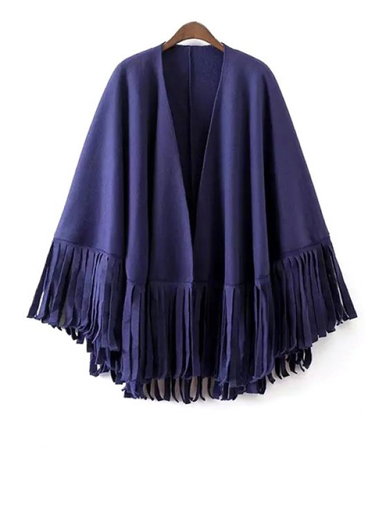 women's Solid Color Tassels Loose Fitting Cape Coat - BLUE ONE SIZE(FIT SIZE XS TO M)