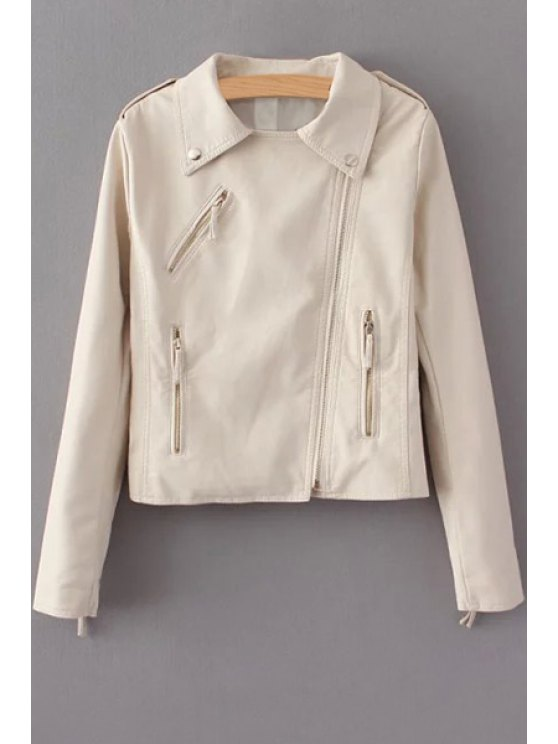 women's Off-White PU Leather Lapel Long Sleeve Jacket - OFF-WHITE S