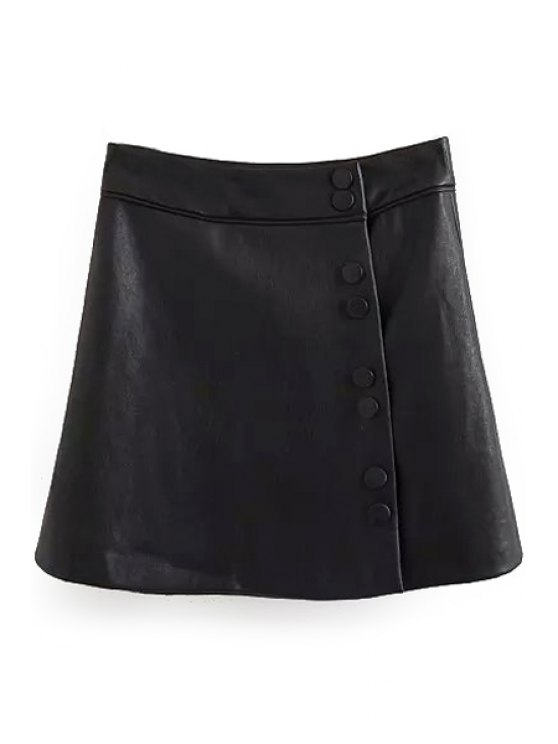 buy Black Faux Leather A Line Skirt - BLACK S