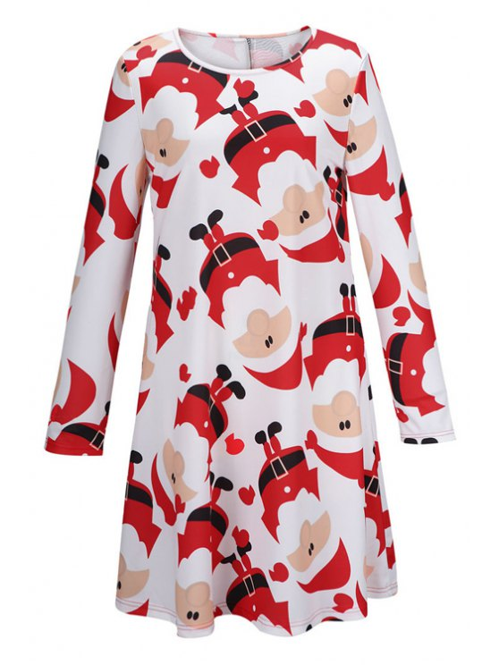 shops Santa Claus Print Fit and Flare Dress - WHITE S