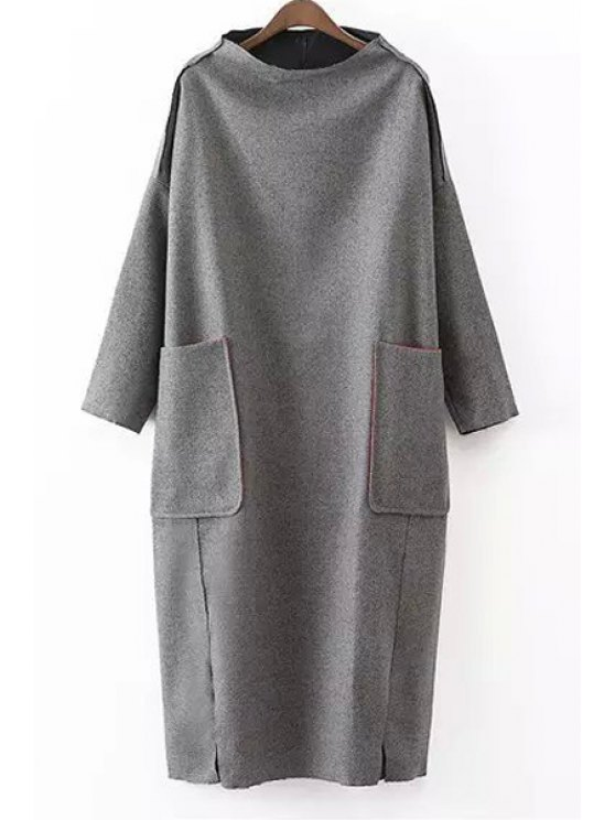 outfit Solid Color Pockets Stand Collar Long Sleeves Dress - GRAY ONE SIZE(FIT SIZE XS TO M)