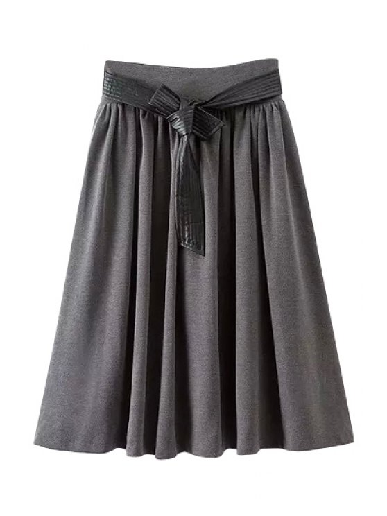 lady Solid Color PU Leather Belt A Line Skirt - GRAY S