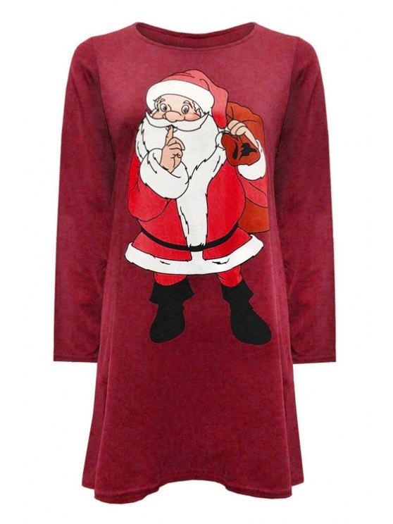 unique Round Neck Santa Claus Print Dress - CLARET L