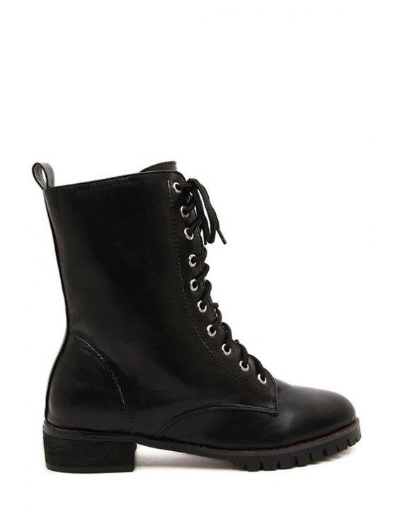 online Lace-Up Solid Color Combat Boots - BLACK 35