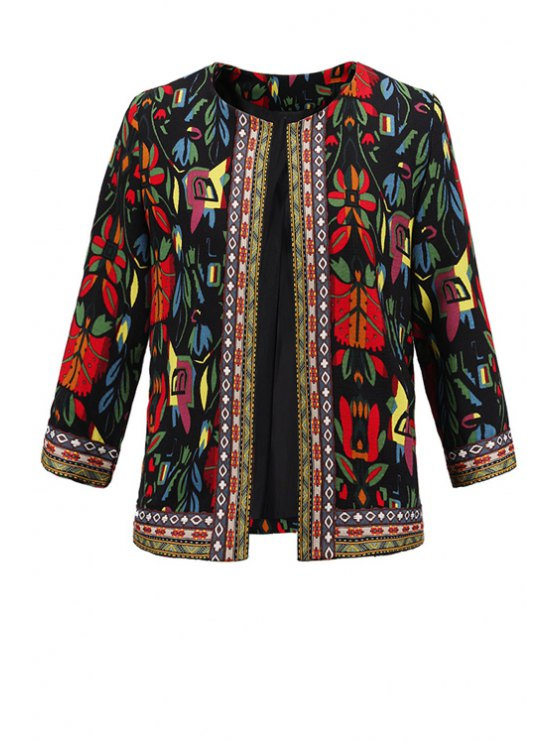 womens 3/4 Sleeve Embroidered Jacket - BLACK L